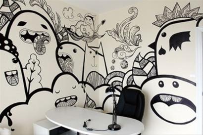 时尚艺术空间ol小姐的手绘墙(组图)