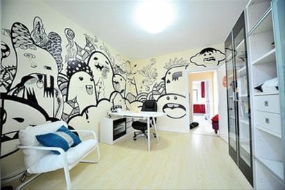 时尚艺术空间 ol小姐的手绘墙(组图)