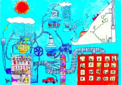 儿童画 重言/绿色能源梦工厂(儿童画)陈重言(7岁)指导老师:许可