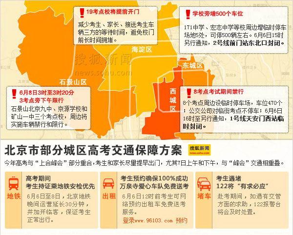 北京市部分城区高考交通保障方案 搜狐新闻制图