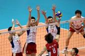 图文:[奥运赛]男排2-3韩国 中国队三人拦网