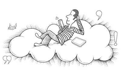 关于读书的手绘插图