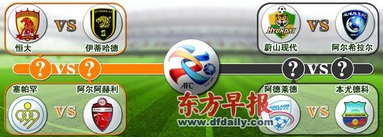 2012赛季亚冠联赛八强对阵图,广州恒大遭遇沙特豪门伊蒂哈德。