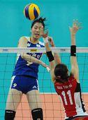 图文:中国女排3-0韩国 杨珺菁扣球