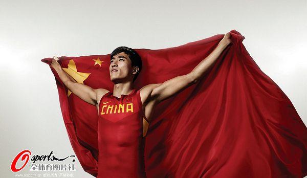 刘翔身披国旗