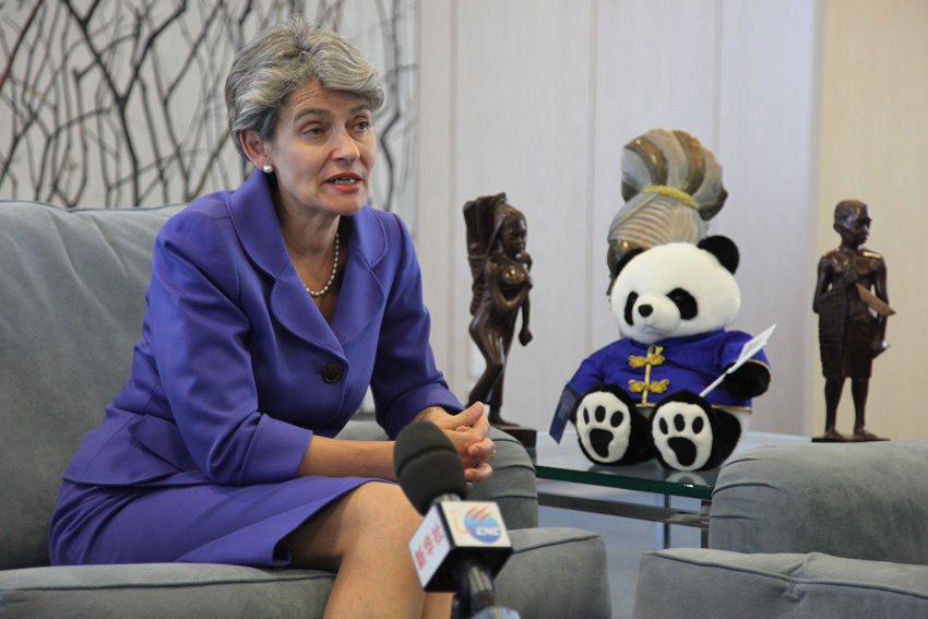 2012年6月4日,联合国教科文组织总干事伊琳娜博科娃在巴黎接受新华社记者专访。 摄影:新华社记者 应强