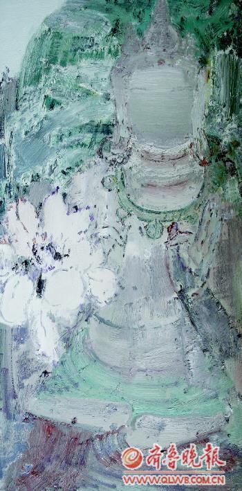莲花与佛像系列布面油彩60 120cm