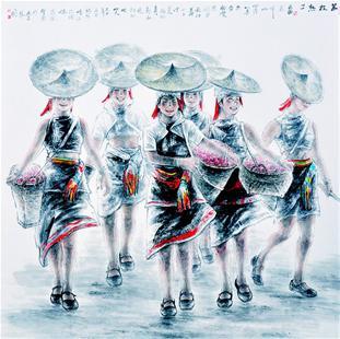 傣族泼水节儿童画