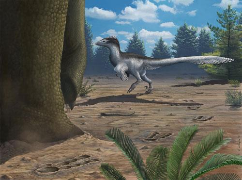 甘肃永靖恐龙足迹化石群复原图,恐爪龙类行走在蜥脚类恐龙旁边(绘图/艾米丽•威洛比 Emily Willoughby)