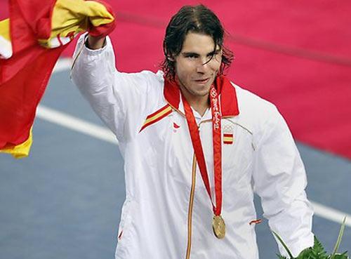 纳达尔在北京奥运会上夺得男单金牌资料图