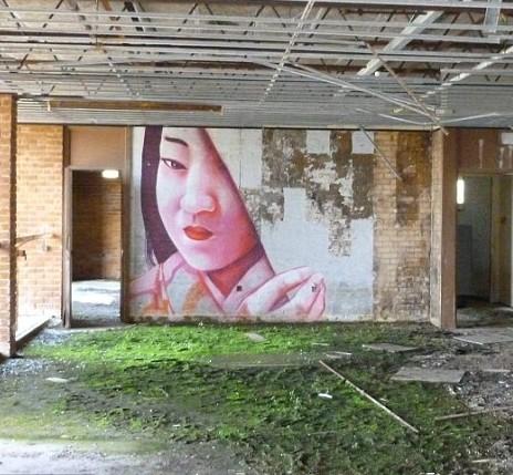 波菲尔村墙上的涂鸦作品