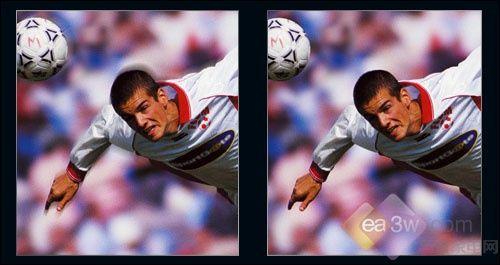 液晶拖尾现象(左)和原始图像(右)对比
