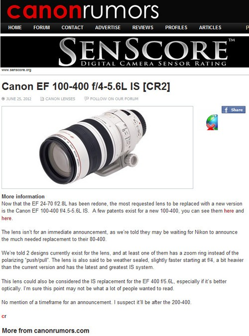 提升光圈 传闻佳能将更新100-400L镜头