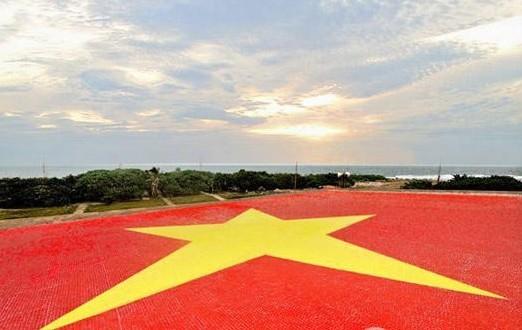外交部:坚决反对越南在南沙铺设越国旗(组图