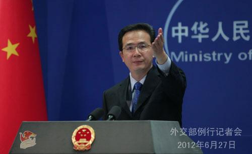 2012年6月27日,签到送彩金的彩票平台,外交部发言人洪磊主持例行记者会。