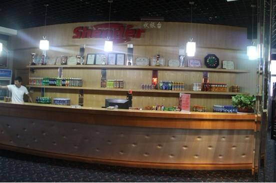 中式台球赛 绅迪台球俱乐部静待开; 河南商丘市绅迪台球俱乐部收银台图片