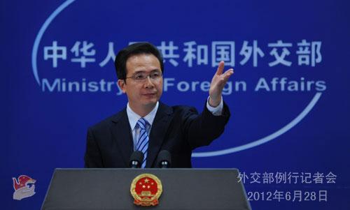 2012年6月28日,外交部发言人洪磊主持例行记者会。