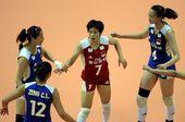 图文:[大奖赛]女排1-3土耳其 中国队互相鼓励