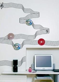 创意主题手绘墙 简单的铸就您年轻个性的空间; 手绘五线谱图案让学习