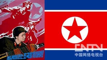 韩国一名男子制作以朝鲜国旗为背景的搞笑图片