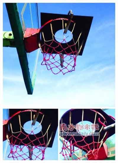 宁波市委党校院内的篮球筐被人上了锁。