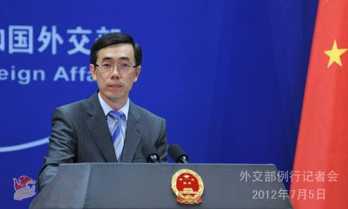 2012年7月5日,外交部发言人刘为民主持例行记者会。