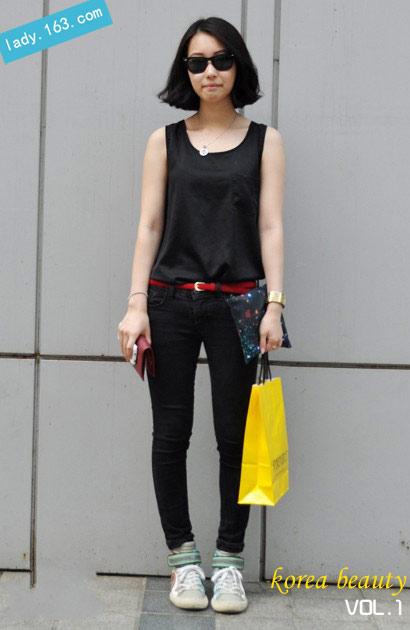 韩国一周街头达人短发波波头发型风再袭来(组日系原宿风女t恤图片