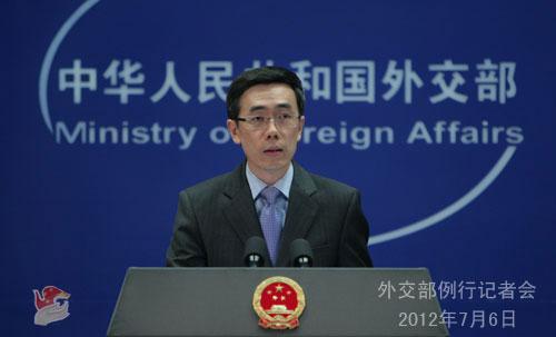 2012年7月6日,外交部发言人刘为民主持例行记者会。