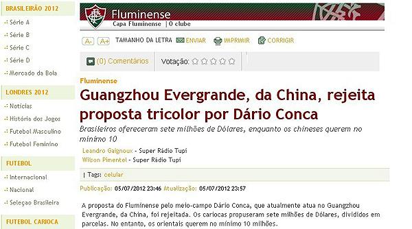 巴西媒体报道截屏图