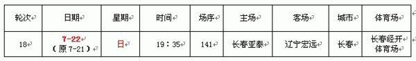 关于调整中超第18轮亚泰VS辽足比赛日期的通知