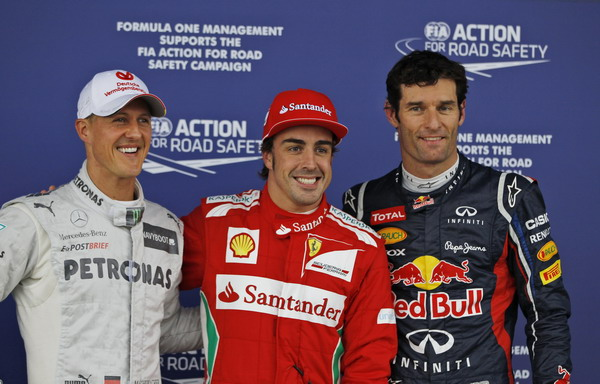 图文:F1英国大奖赛排位赛 三人心情都不错