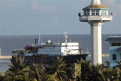 琼沙三号,来到永兴岛进行物质补给。