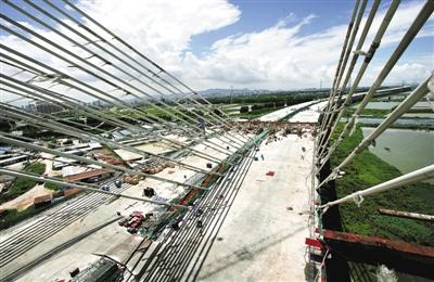6日,俯瞰正在建设中的深圳与东莞交界处东宝河特大桥。该桥为国内较为罕见的小半径曲线斜拉桥。