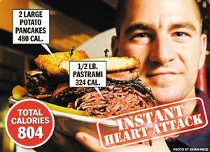 """纽约这家餐厅的""""急性心脏病""""三明治。"""