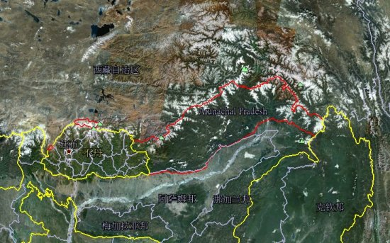 资料图:红线部分就是印度侵占中国的藏南地区