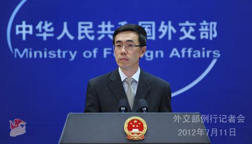 2012年7月11日,外交部发言人刘为民主持例行记者会。