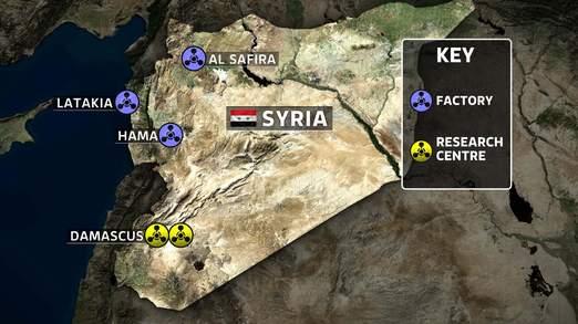地图 巴沙尔/英国天空电视台绘制地图称叙利亚哈马、大马士革等地区有研发及...