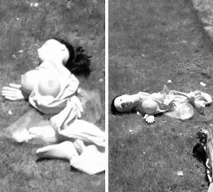 """充气娃娃被撕烂了,""""躺在""""宿舍前的草坪上。信息时报记者 巢晓 通讯员 欧阳凯 摄"""