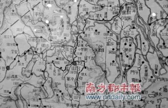 民国二十七年1938年五邑局部地图,新宁铁路清晰可见.