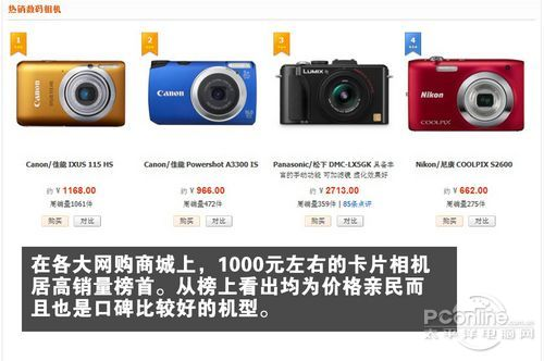 1000元价位的数码相机热销