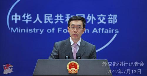 2012年7月13日,外交部发言人刘为民主持例行记者会。