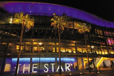 澳大利亚最著名赌场之一,悉尼星港赌场夜景。