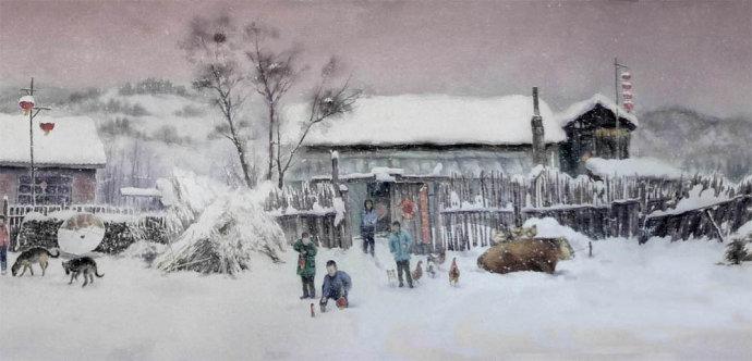 雪景房子水彩畫