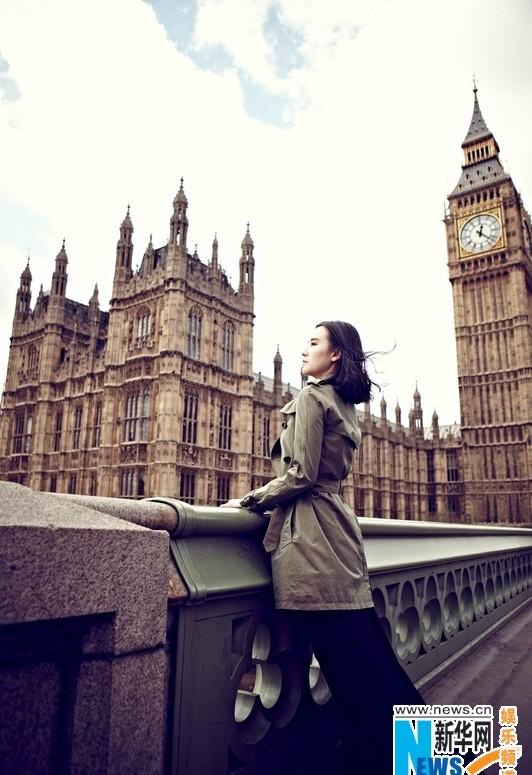 小宋佳登《优家画报》封面 伦敦掠影感触英伦风尚