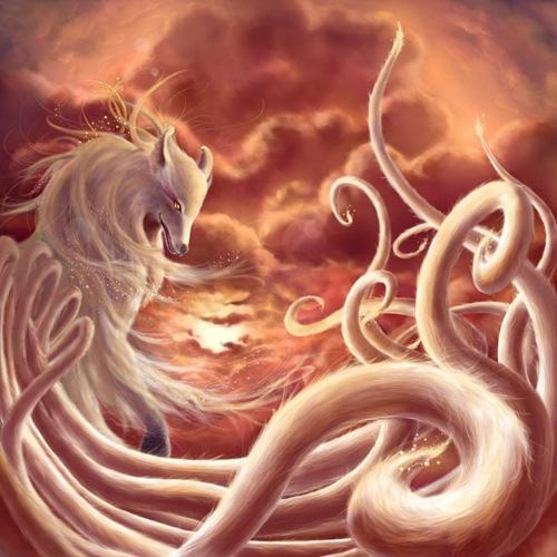 九尾狐女古风唯美手绘图