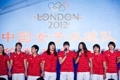 图文:中国女子水球队送行会 全队深情演唱歌曲
