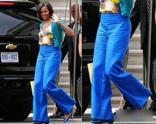 湛蓝色阔腿裤