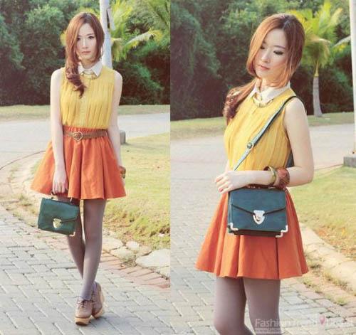 芥末黄无袖雪纺衫搭配橘色A字裙