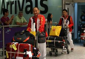 中国奥运代表团抵达伦敦
