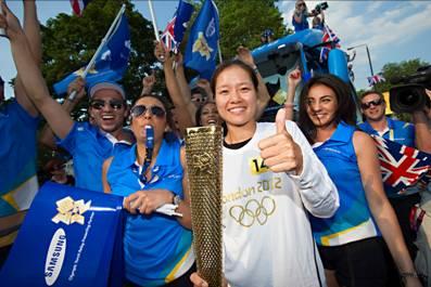 三星奥运火炬手李娜号召人们共同参与到奥运当中来